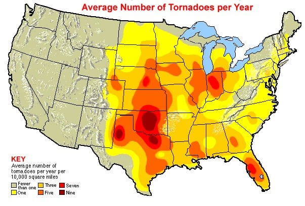 Average Number of Tornadoes