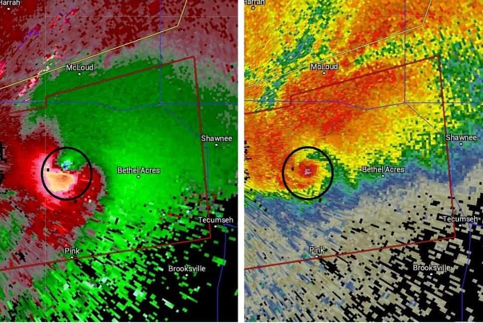 Radar tornado signature. Hook echo on right, velocity couplet on left.