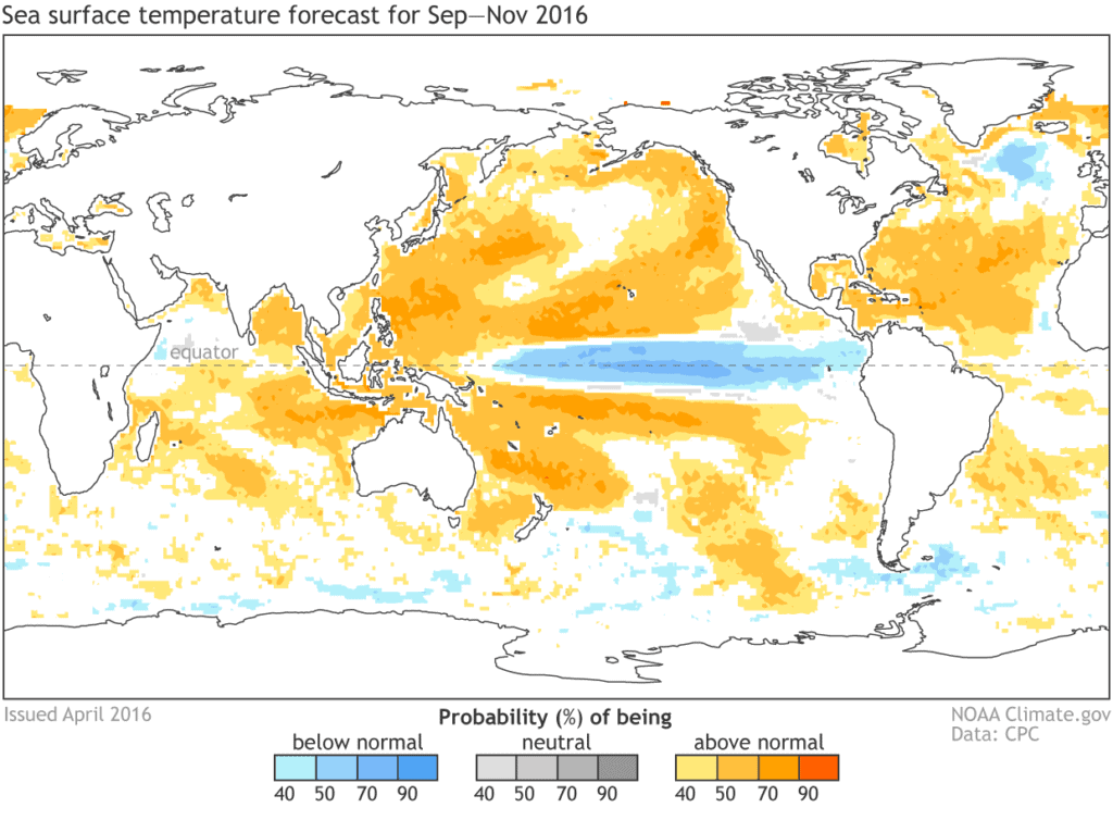 Model forecast of La Nina this Fall.