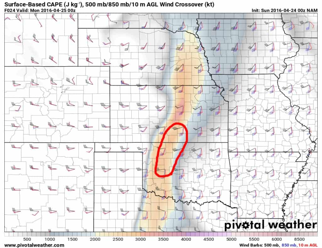 Red outline indicates most favorable area for storms and possible tornadoes Sunday.