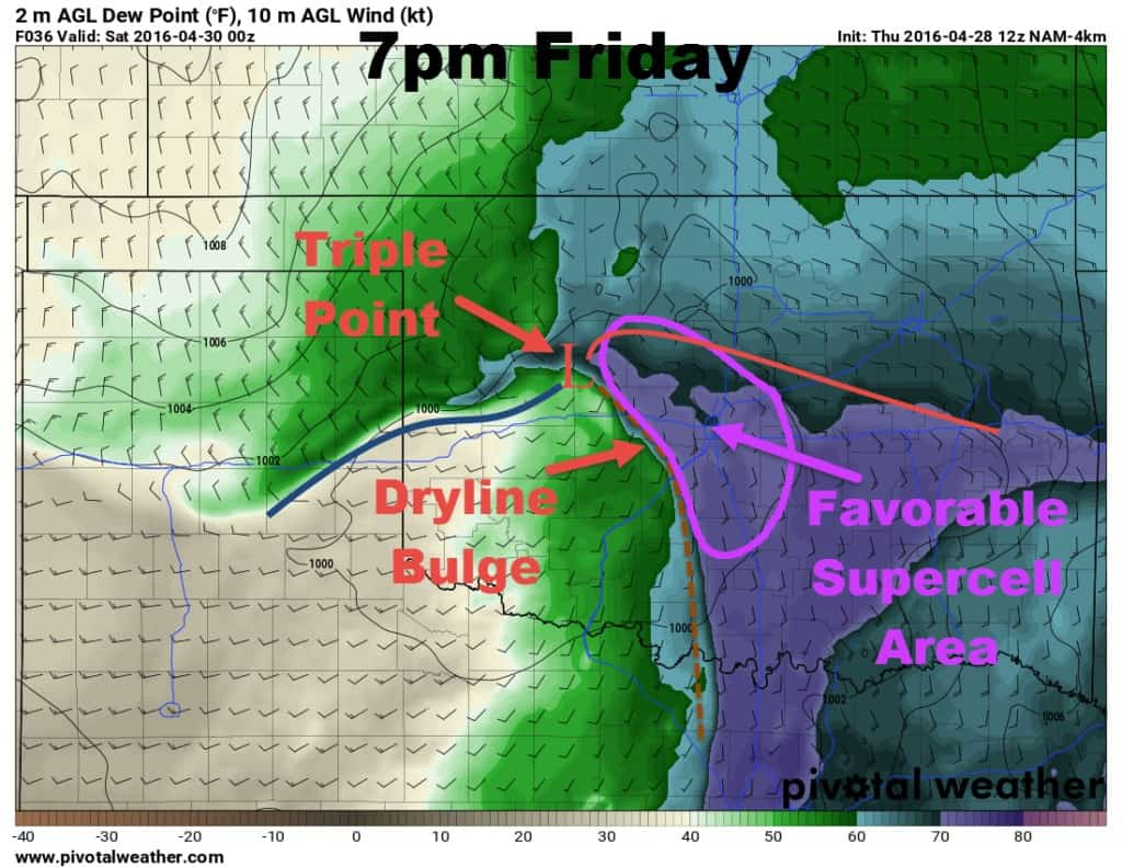 Surface map showing the most likely area for storm formation.