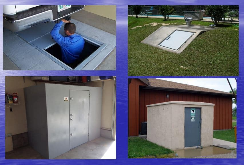Various types of storm shelters.