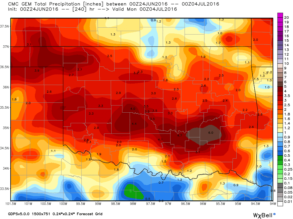 Candadian showing rain totals through July 3rd.