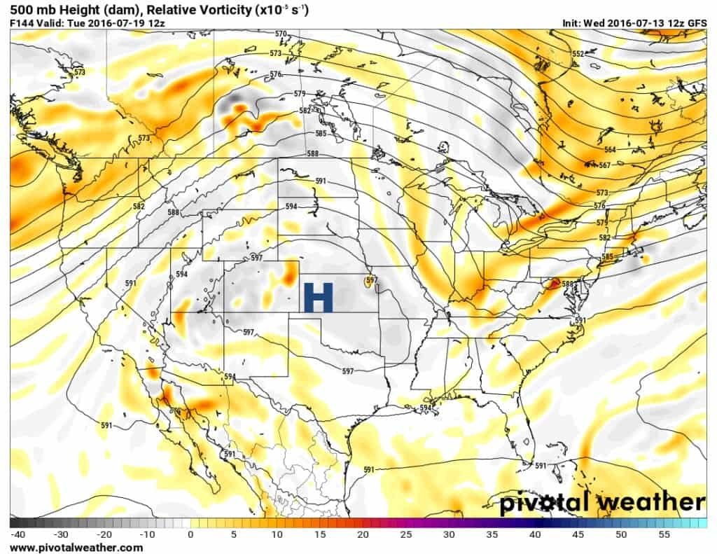 Upper level ridge of high pressure (heights) builds back in.