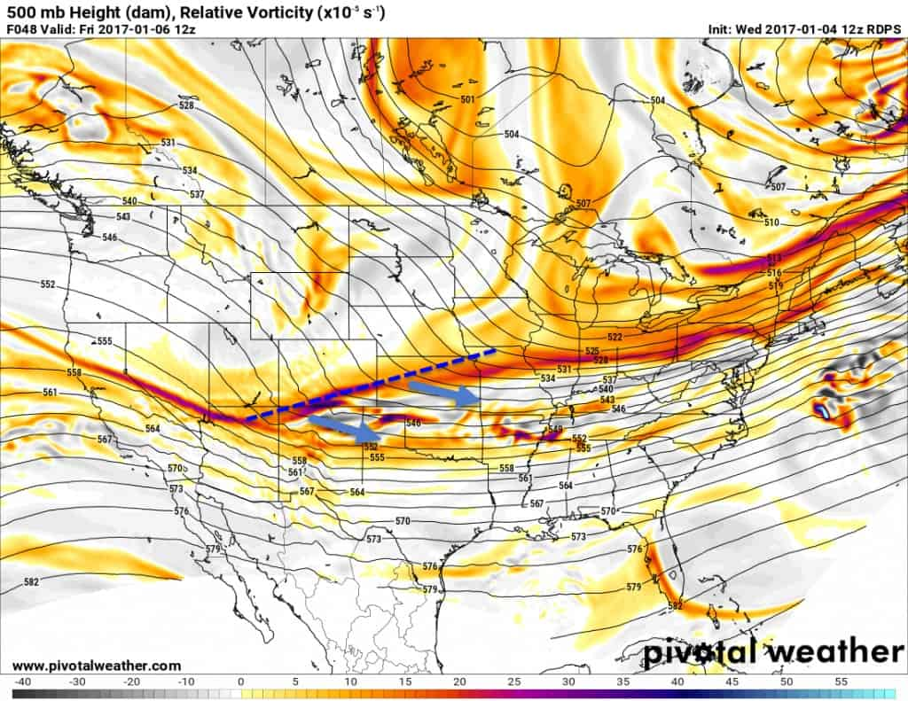 Upper level storm system coming across as an elongated trough.