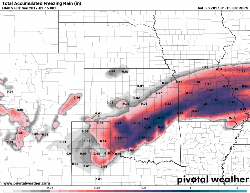 Canadian model ice total forecast. Higher than others.
